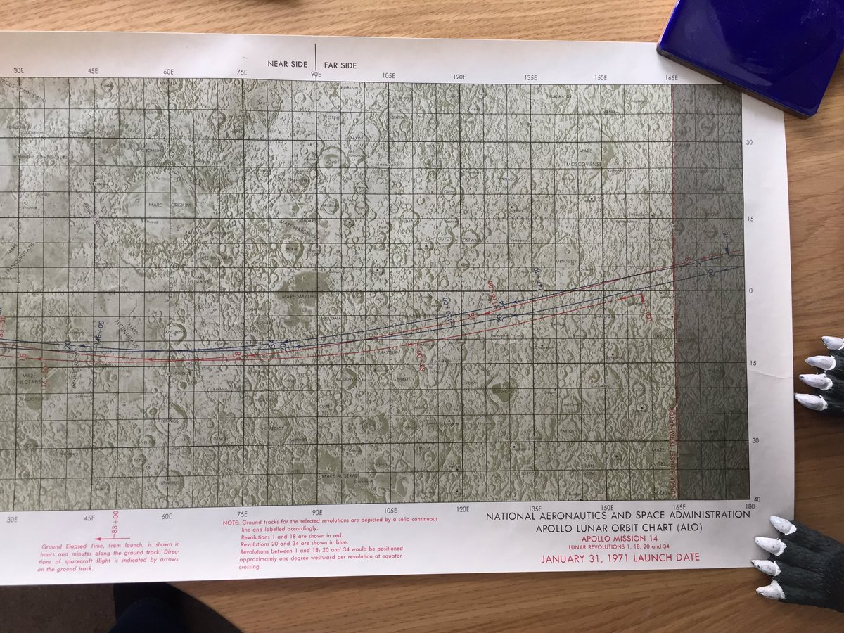 My belated birthday present to myself just arrived! An #Apollo14 Lunar Orbit chart from the year I was born! Thanks @unknownsymmetry #space <br>http://pic.twitter.com/h9Q0rpG8eD