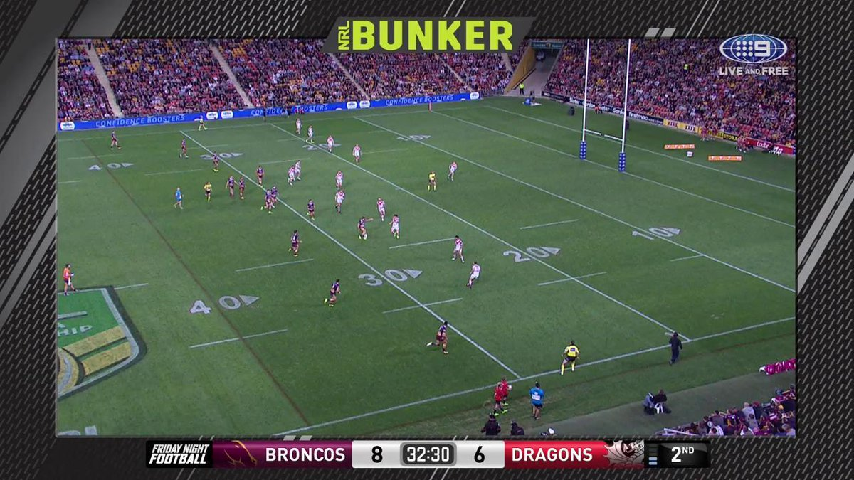 TRY @brisbanebroncos! #NRLBroncosDragons 12-6 32' 'That is great visio...