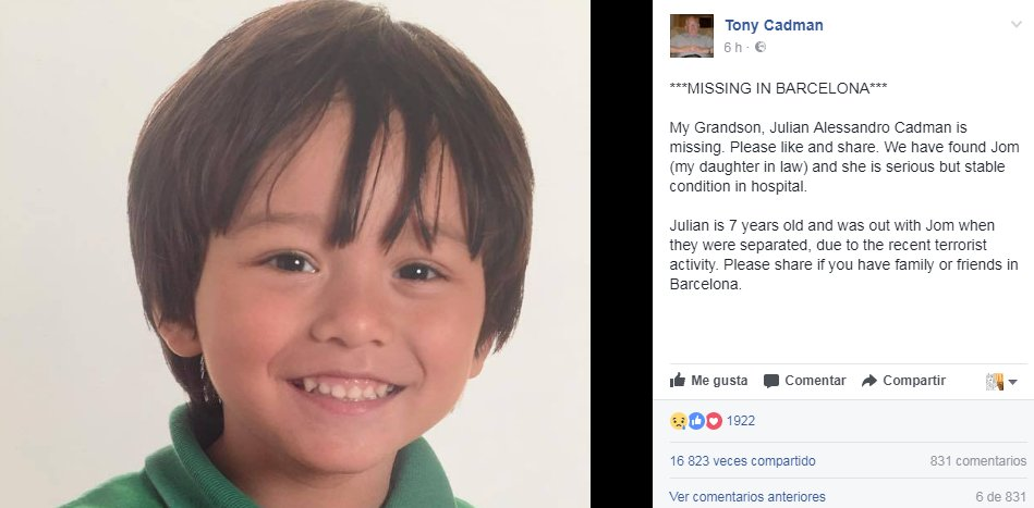 Sigue desaparecido un niño australiano de 7 años tras el atropello en Las Ramblas. Su abuelo pide difusión y ayuda: https://t.co/vH5C5LX34I