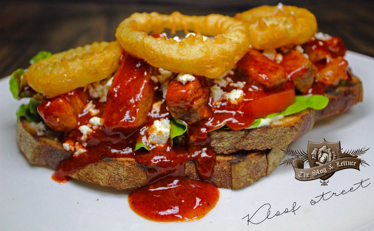 Prego Beef Strips - Aged Sirloin, Feta, Battered Onion Rings Lettuce, Tomato on Toasted Sour dough. #Prego #Grill #Restaurant #Bar #CapeTown<br>http://pic.twitter.com/toYw2FTjIG
