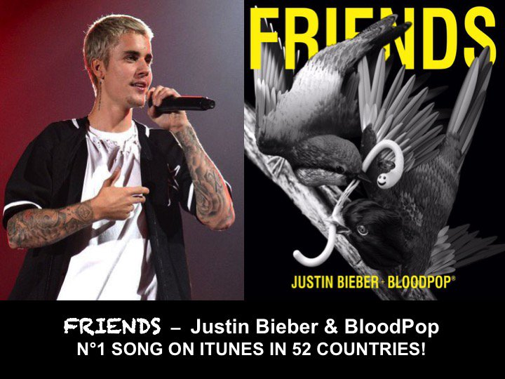 #JustinBieber's new Single #Friends with #BloodPop is already #1 on Itunes in 52 countries including the US!  https://www. facebook.com/worldmusicawar ds/photos/a.310614765686310.72237.305202169560903/1424762577604851/?type=3&amp;theater &nbsp; … <br>http://pic.twitter.com/ThU3j8f36s