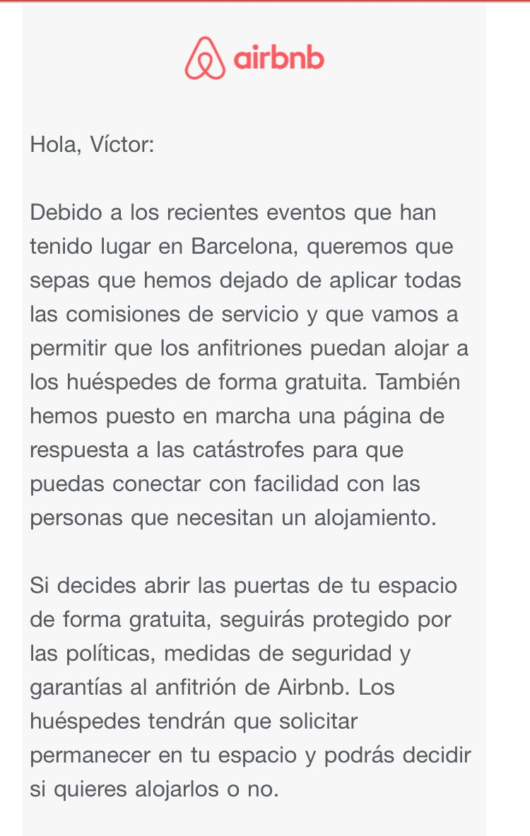 Airbnb is offering free housing to those affected by the disaster in Barcelona