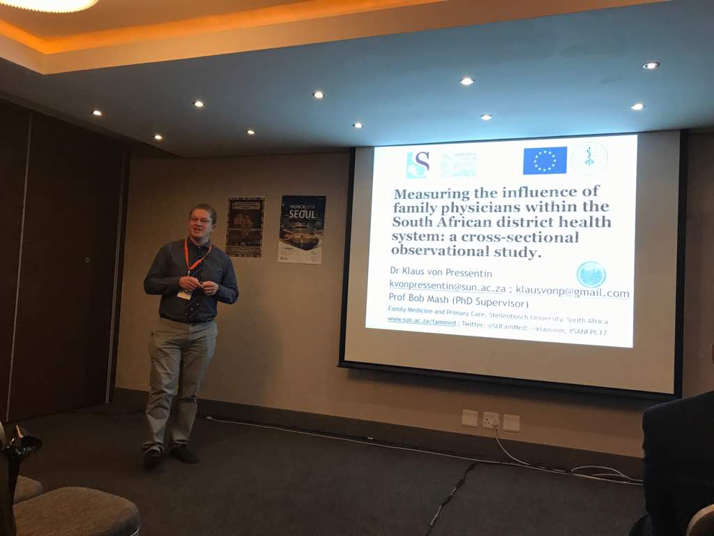 #SANFPC17 @klausvon from our Division presented his PhD #research on the #impact of #familyphysicians within the #DHS of #SouthAfrica #PHC<br>http://pic.twitter.com/Q2IMaLBnZd