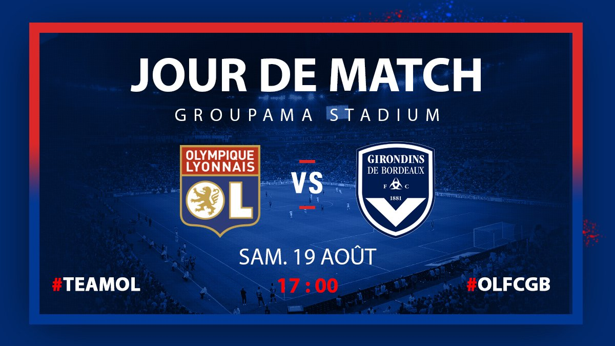 Jour de match !   ⚽️ #OLFCGB  ⏰ 17H00  🏟 @GroupamaStadium  🎟 https://t...