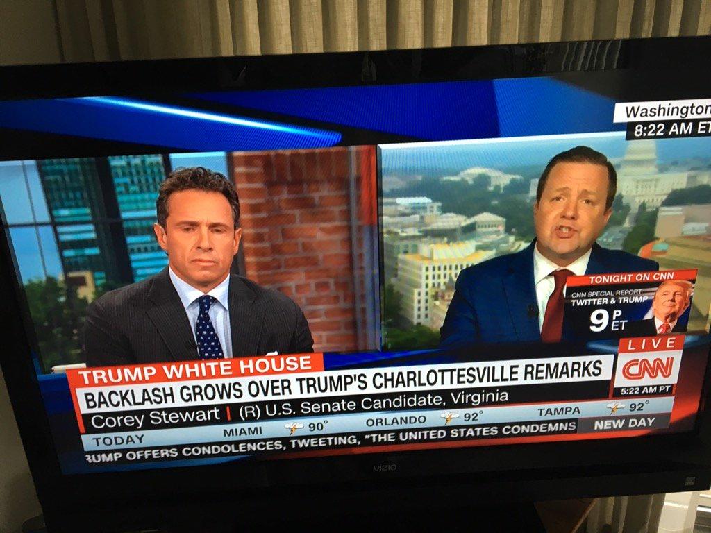 Va Repub Senate candidate Corey Stewart tangles over left-right violence w/CNN Chris Cuomo. #WAMU Politics Hour.