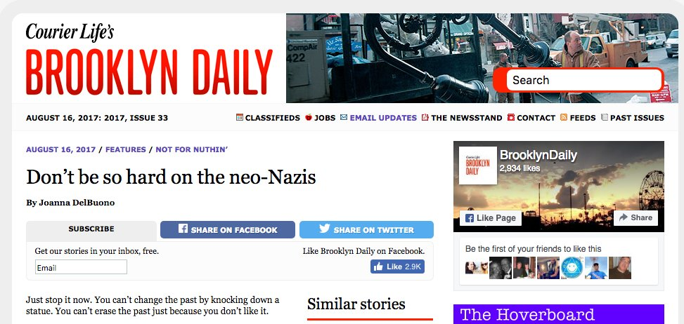 @brooklyndaily Address your Nazi-sympathizing. People have questions and want an apology.  #brooklyn #brooklyndaily #NaziSympathizer #nazi<br>http://pic.twitter.com/I25zbodeqT