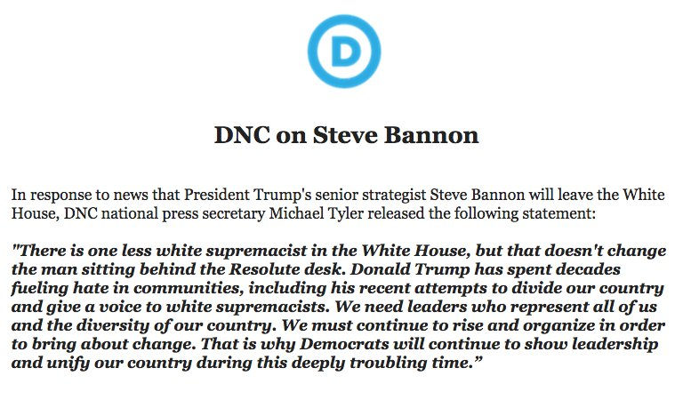 'There is one less white supremacist in the WH, but that doesn't change the man sitting behind the Resolute desk,' DNC says of Bannon ouster