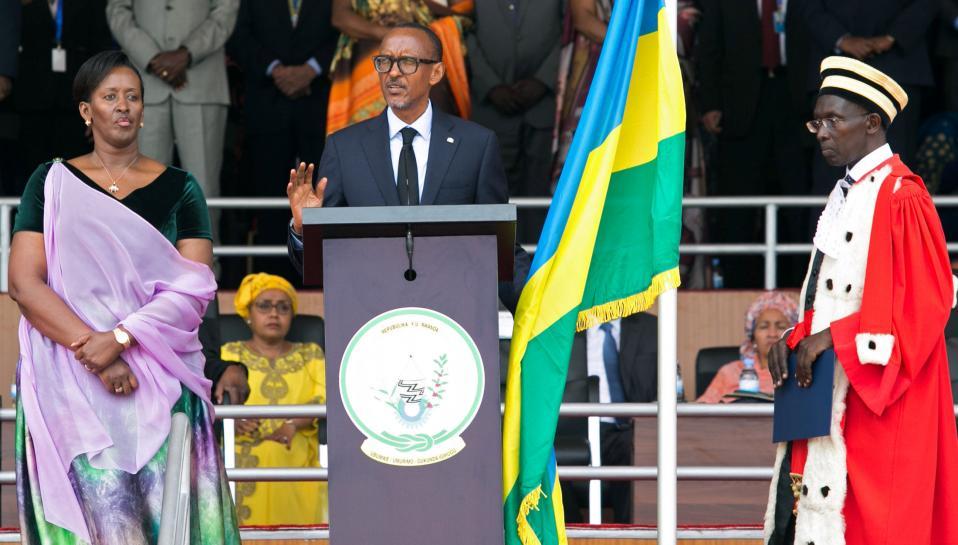 Rwanda's president strikes defiant note...