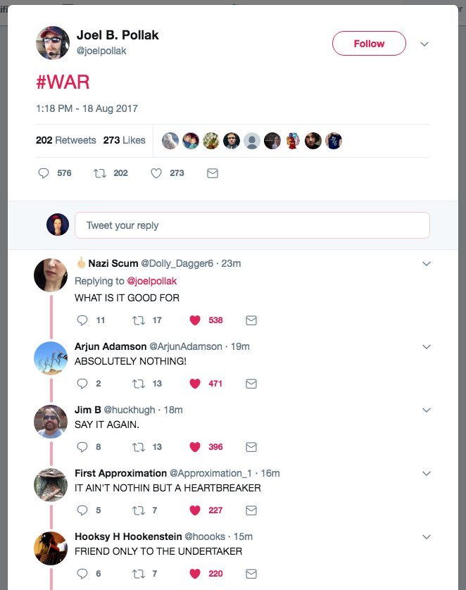 "Beautiful, Twitter. Kudos.  What happened when Breitbart editor tweet-shouted ""WAR"" after Bannon got canned: https://t.co/1CNigJC56y"