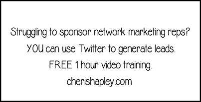 Need more #Network #Marketing Reps? FREE 1 hour Twitter Video #Training on #Sponsoring ==&gt;  http:// cherishapley.com  &nbsp;  <br>http://pic.twitter.com/fxQT84jFa4