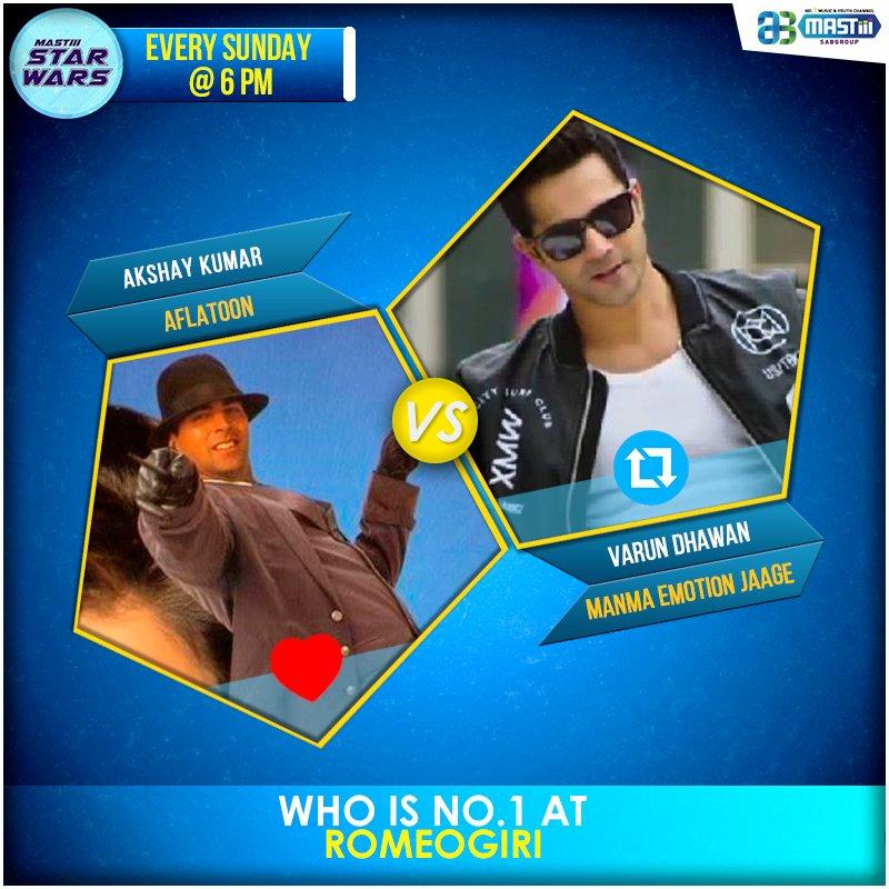 Mastiii #StarWars – Who is No.1 at Romeogiri?  for #AkshayKumar &amp;  for #VarunDhawan<br>http://pic.twitter.com/wd0eoi4TiS