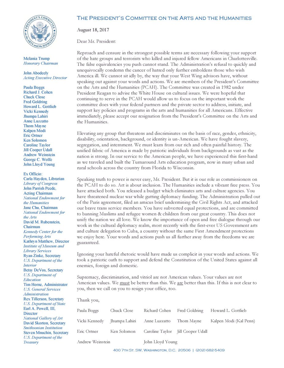 Dear @realDonaldTrump, attached is our letter of resignation from the President's Committee on the Arts & the Humanities @PCAH_gov