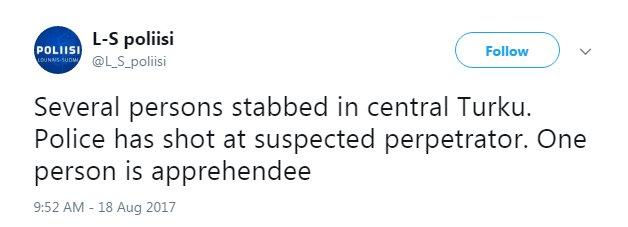 BREAKING: Police say several people have been stabbed in Turku, Finlan...