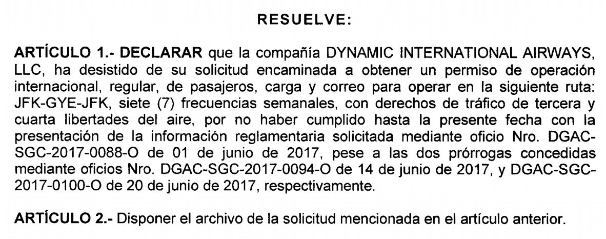 After 1 month of @DGAC_Ecuador dismissal of #Dynamic petition.@flyairdynamic files for 2nd time petition to operate Charters in #Ecuador. <br>http://pic.twitter.com/3tYZGpsowI