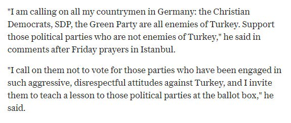 #Erdogan urges Turks in Germany to reject #Merkel, saying her party is &#39;the enemy&#39; ~#TelegraphNews   #BTW2017  http://www. telegraph.co.uk/news/2017/08/1 8/erdogan-urges-turks-germany-reject-merkel/?utm_source=dlvr.it&amp;utm_medium=twitter &nbsp; … <br>http://pic.twitter.com/ikeXwcNkba