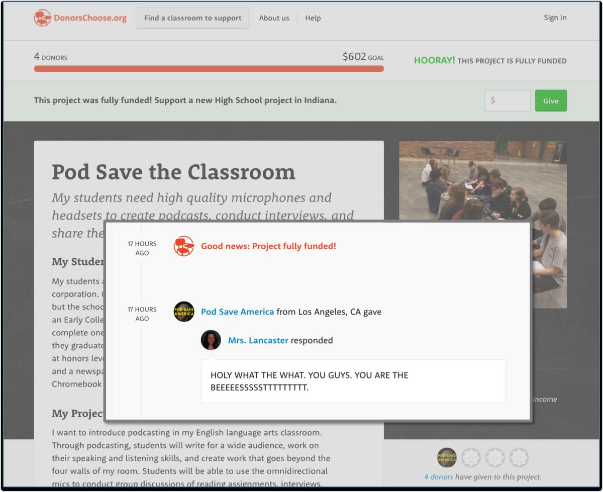 Love how @PodSaveAmerica & @SquareCash are supporting teachers like Mrs. Lancaster cash.me/app/podsave