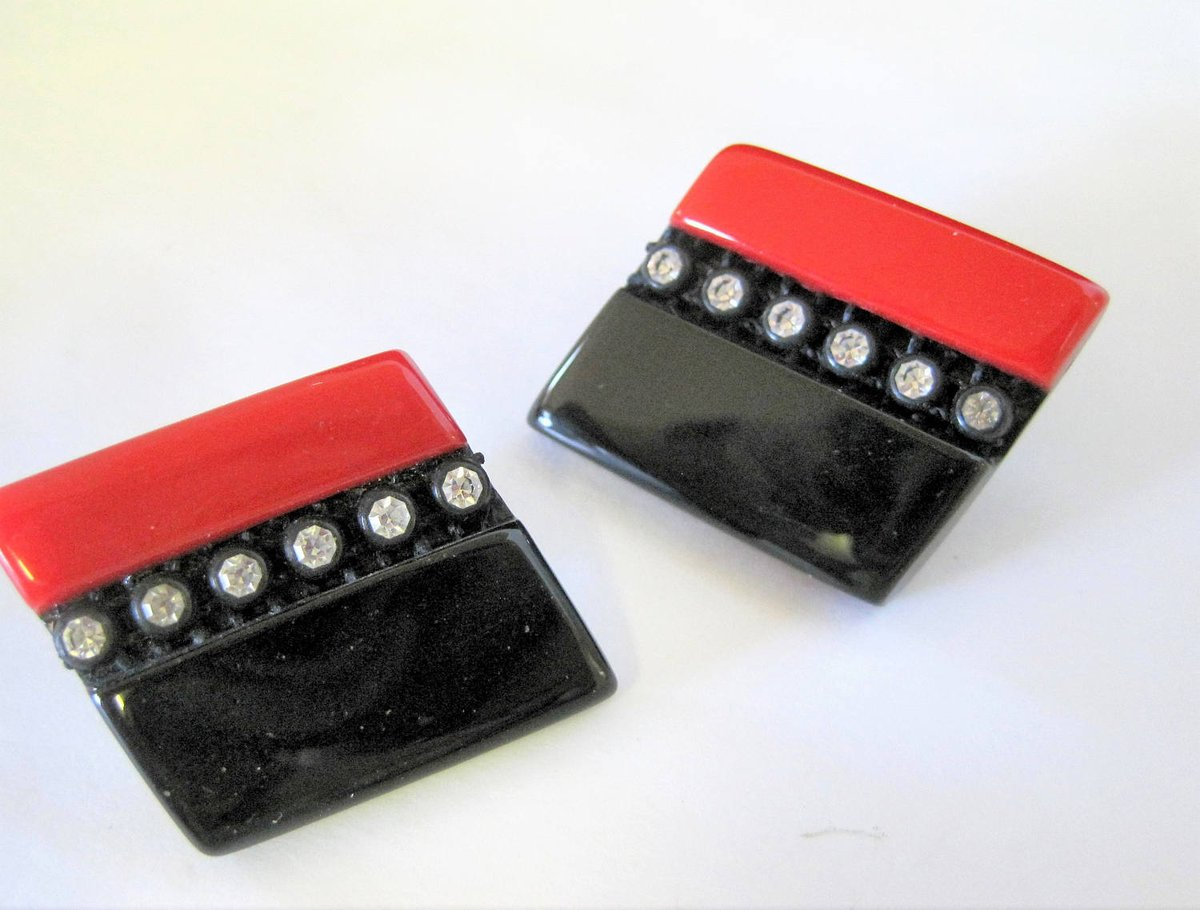 Art Deco Red Black Earrings - Geometric Lucite - Clear Rhinestone Highlights - Fabulous  https:// seethis.co/ZRz0x/  &nbsp;   #costumejewelry #midcentury <br>http://pic.twitter.com/F0haHOgLKh