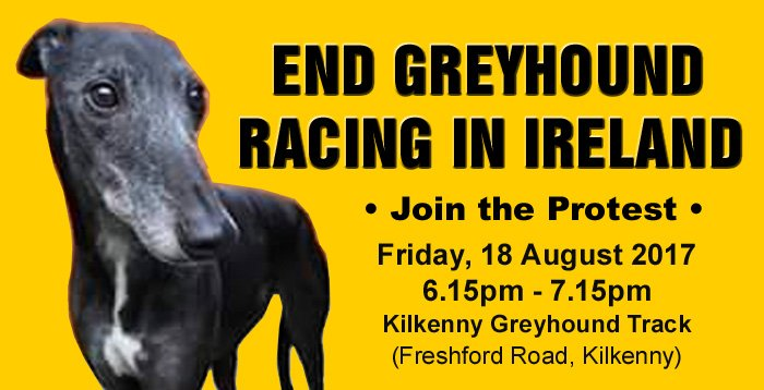End greyhound racing in Ireland: Protest #TODAY 18th August, 6.15-7.15pm outside Kilkenny greyhound track  https://www. facebook.com/events/2636299 34142718/ &nbsp; … <br>http://pic.twitter.com/6Bz8YoFRNK