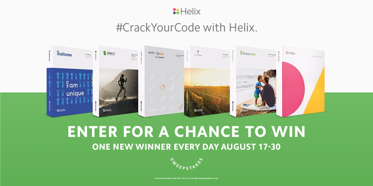 Win a Helix #DNA kit! Follow @my_helix and tell us why you want to unlock personal DNA insights, using #CrackYourCode and #Sweepstakes<br>http://pic.twitter.com/9YLozJJcEm