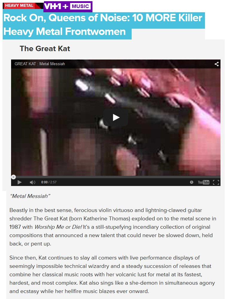 #VH1 declares: &quot;The Great Kat. Ferocious #violin virtuoso and lightning-clawed guitar shredder. Volcanic #lust for #metal at its fastest.&quot;<br>http://pic.twitter.com/FF5nIb5RBz