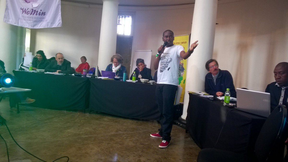 Just gave an update on #Marange Diamonds issues during the #Peoples Tribunal #SADCSummit #SADCPeoplesSummit @ZELA_Infor @StopCorpPower<br>http://pic.twitter.com/Mf62172W7U