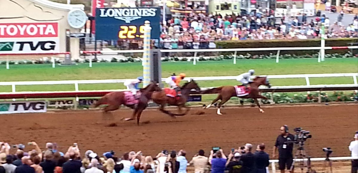 #FlashbackFriday  2016 #PacificClassic @DelMarRacing  #CaliforniaChrome across the finish line chased by #Beholder and #Dortmund <br>http://pic.twitter.com/xIJEDpDkRa