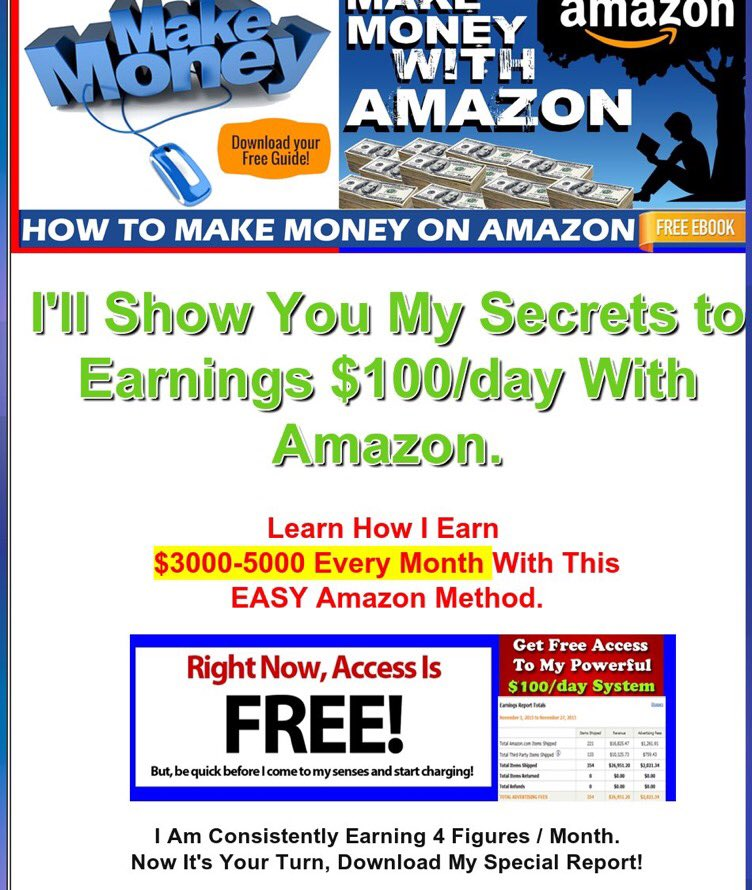 How to #makemoney on #amazon. Learn the secrets to earn 100/day with amazon! Click the link-thank me later #retweet  http:// fstrckr.com/bPsW  &nbsp;  <br>http://pic.twitter.com/AmhM0z4LMC