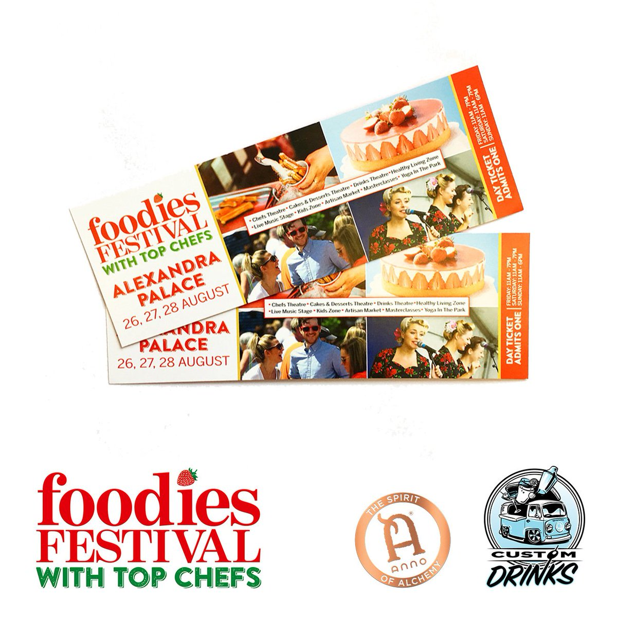 #Giveaway! A pair of tickets for @foodiesfestival next weekend! follow us and @custom_drinks then RT to enter! #bankholiday #win #foodies<br>http://pic.twitter.com/5L36Mqmys4