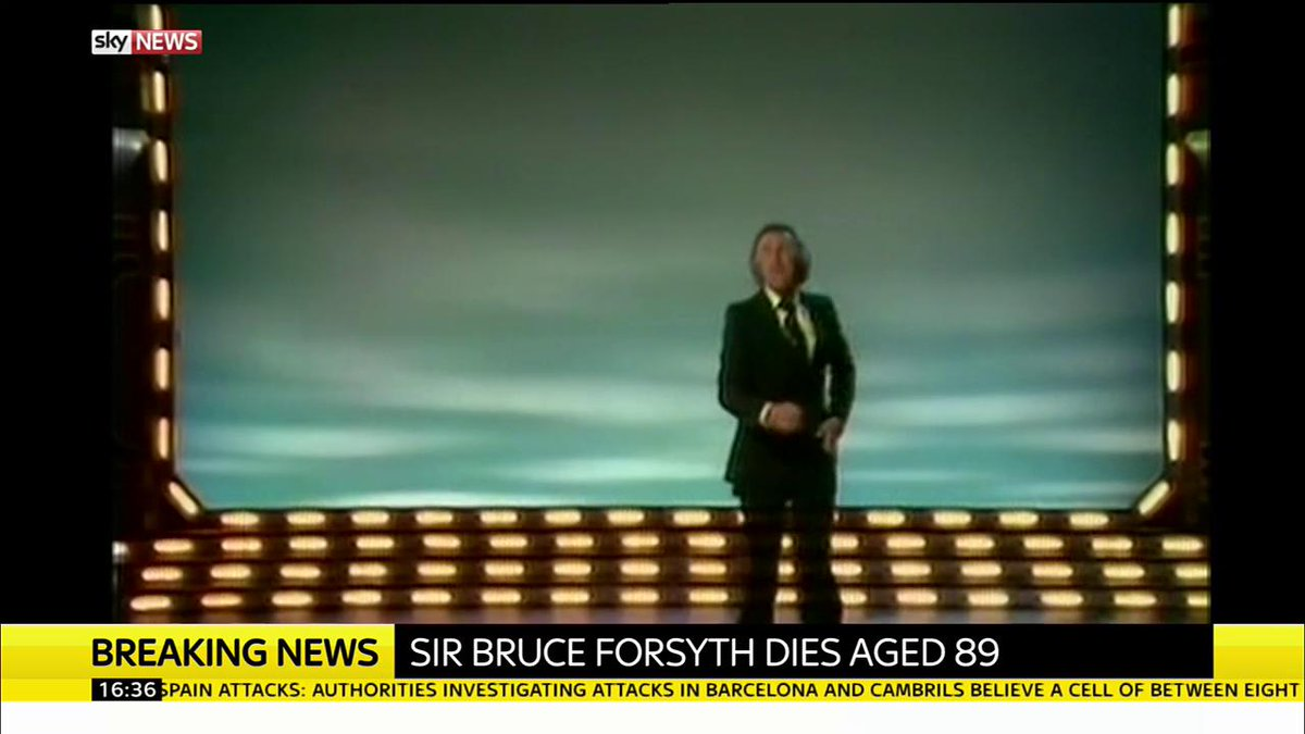 Veteran TV presenter Sir Bruce Forsyth has died at the age of 89 https...