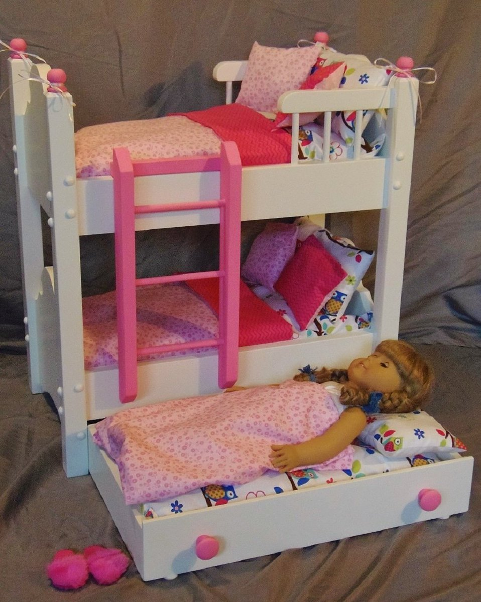 Doll bunk bed with trundle now in our Etsy shop. #etsy #etsyseller #18inchdoll #etsyshop #dolls #handmade  http:// etsy.com/shop/keatingwo odcraft &nbsp; … <br>http://pic.twitter.com/JyBoOhl6Xl
