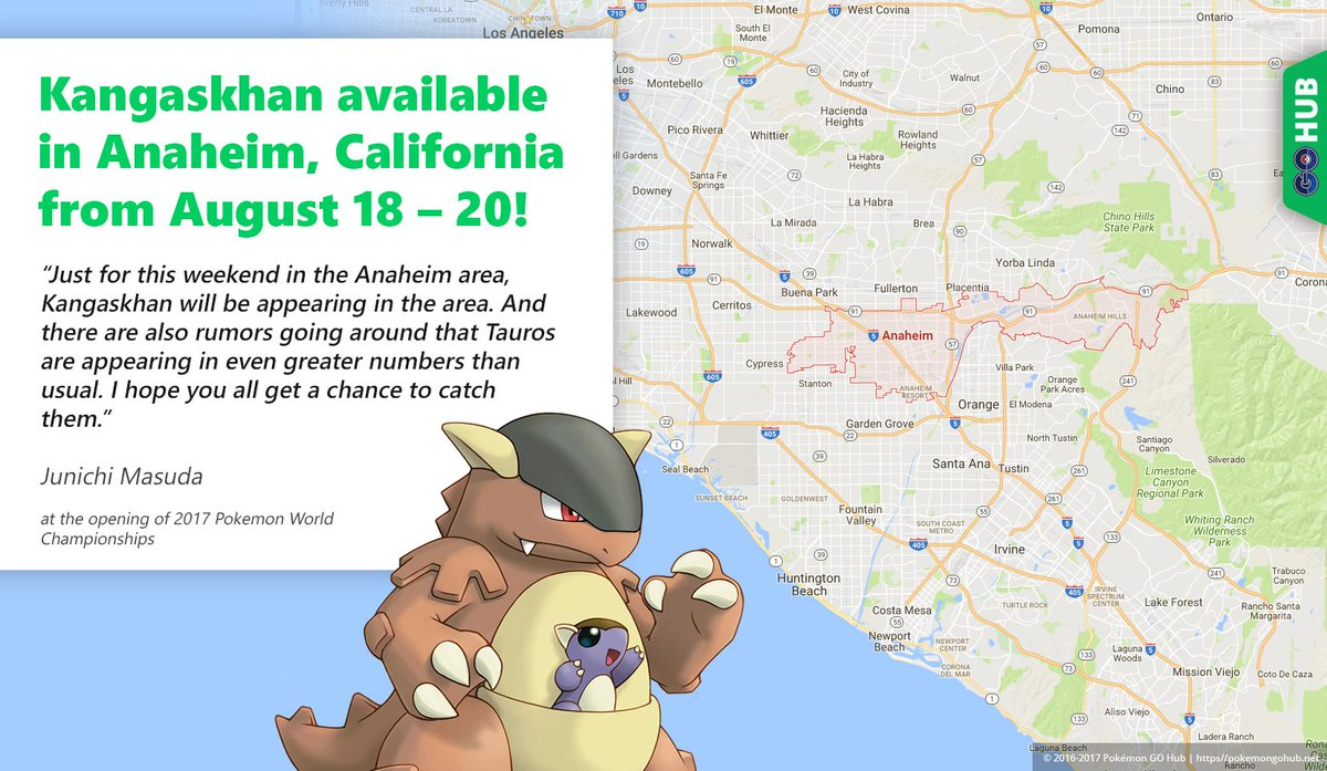 Pokemon World Map 2017.Kangaskhan Available In Anaheim California From August 18 20