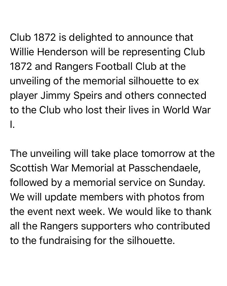 Willie Henderson will represent Rangers Football Club and Club 1872 at...
