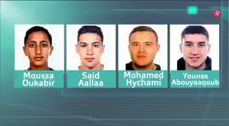 Estos son los 4 sospechosos que busca la policía por los atentados de #Barcelona y #Cambrils: Oukabir, Hychami, Abouyaaqoub, y Aallaa. #EXN https://t.co/K65wPUVE6V