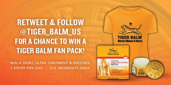 FOLLOW + RT for a chance to win a #TigerBalmFanPack!  Ends Noon PT Mon...