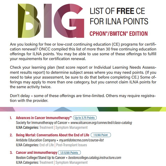 Oncc On Twitter Need Free Ce Get Your Big List Of Free Ce Today
