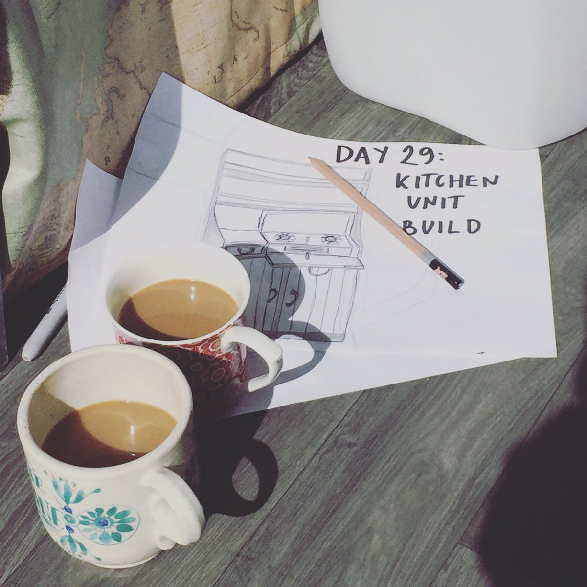 Today we started creating our kitchen units #builtnotbought #coffeebreak #sketch #Vanlife #vwt5<br>http://pic.twitter.com/cNmRFlmG1F