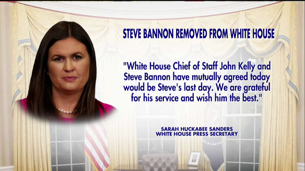 .@PressSec on Bannon being removed from @WhiteHouse. https://t.co/zFQiTpqbd0