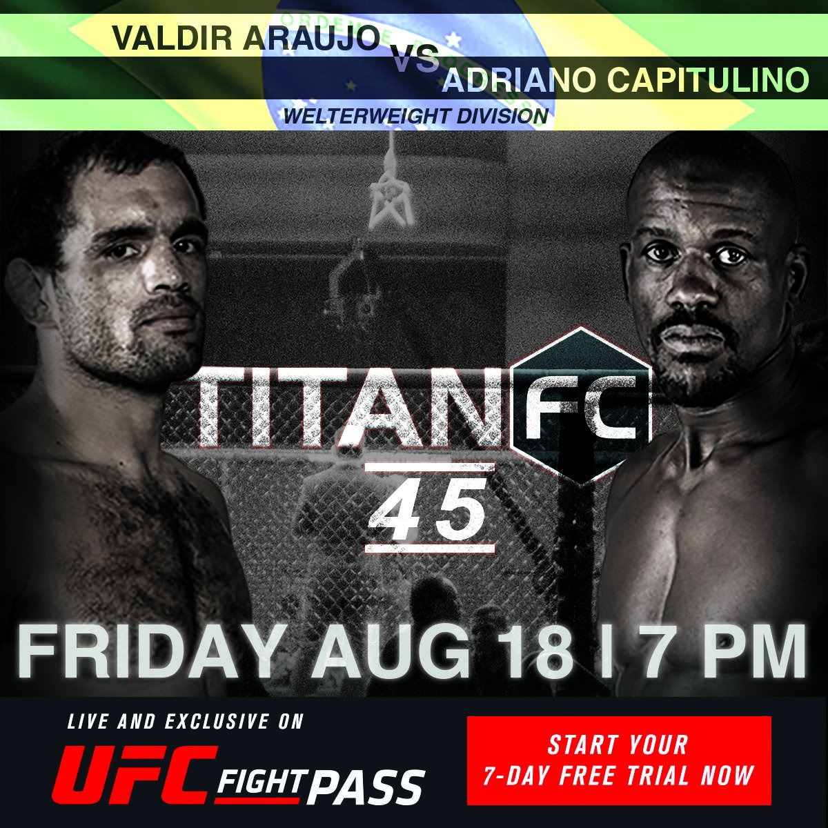 1 hour to go! #TitanFC45 is LIVE and Exclusive on #UFCFIGHTPASS at 7pm...
