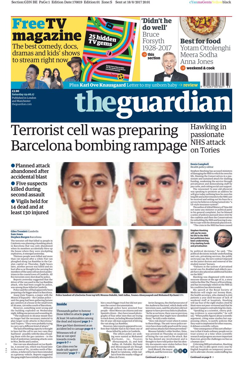GUARDIAN: Terrorist cell was preparing Barcelona bombing outrage #tomo...
