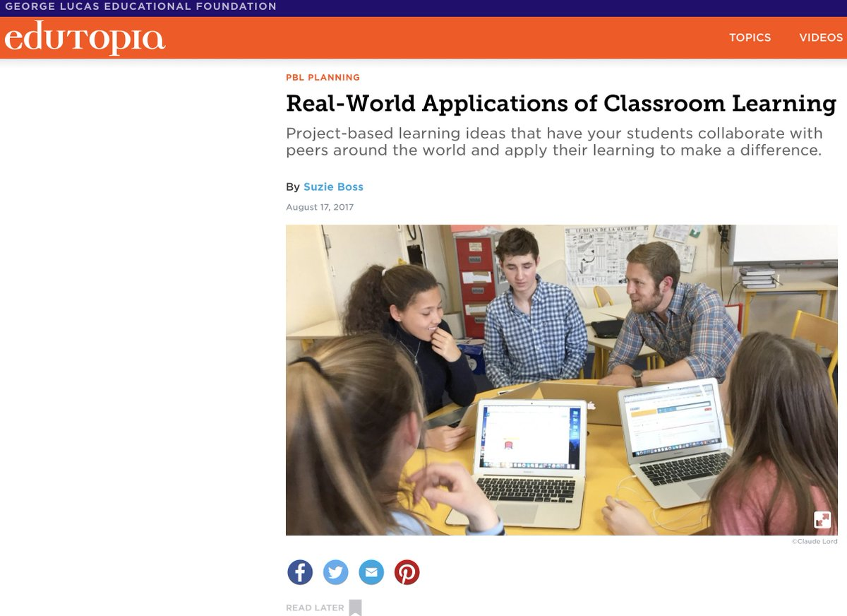 Check out &quot;3 More Projects That Inspire Action&quot; in  https://www. edutopia.org/article/real-w orld-applications-classroom-learning &nbsp; …  To find worldwide partners to #TeachSDGS,  http:// tinyurl.com/SkypeSDGs  &nbsp;  <br>http://pic.twitter.com/TvlIBr4igo