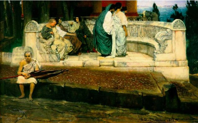 Fab #Alma Tadema exhibition @LeightonHouse_  Rich evocations of Roman life inc. Grumio-like slave in &#39;An exedra&#39; 1871:<br>http://pic.twitter.com/5n1KYD3WTP