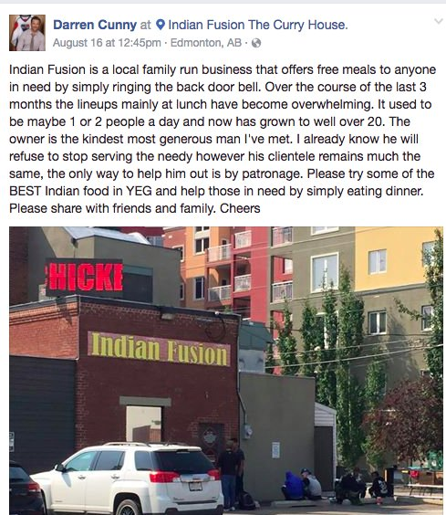 Hey Edmonton, Indian Fusion is feeding more than 20 homeless people a day! Go have dinner there this weekend. https://t.co/mCBDkEhJev