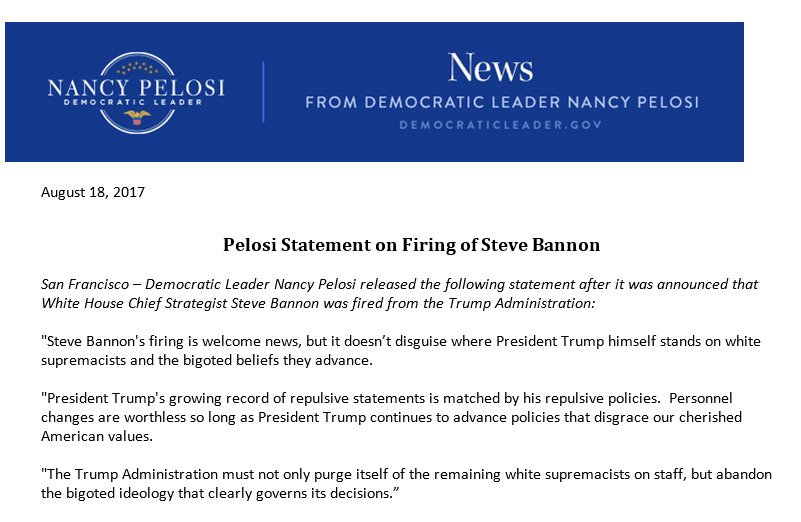 YOU GIVE AN INCH: Clearly @NancyPelosi is ready to work with @realDonaldTrump post-Bannon firing.