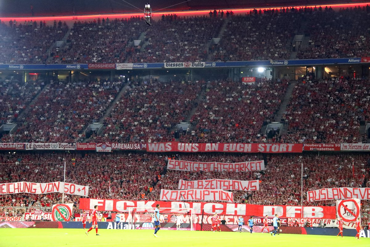 #BayernMunich this evening:   &quot;What bothers us: fan punishments, half-time shows, corruption, international marketing, exceptions to 50+1.&quot; <br>http://pic.twitter.com/JL9FqF5HYW