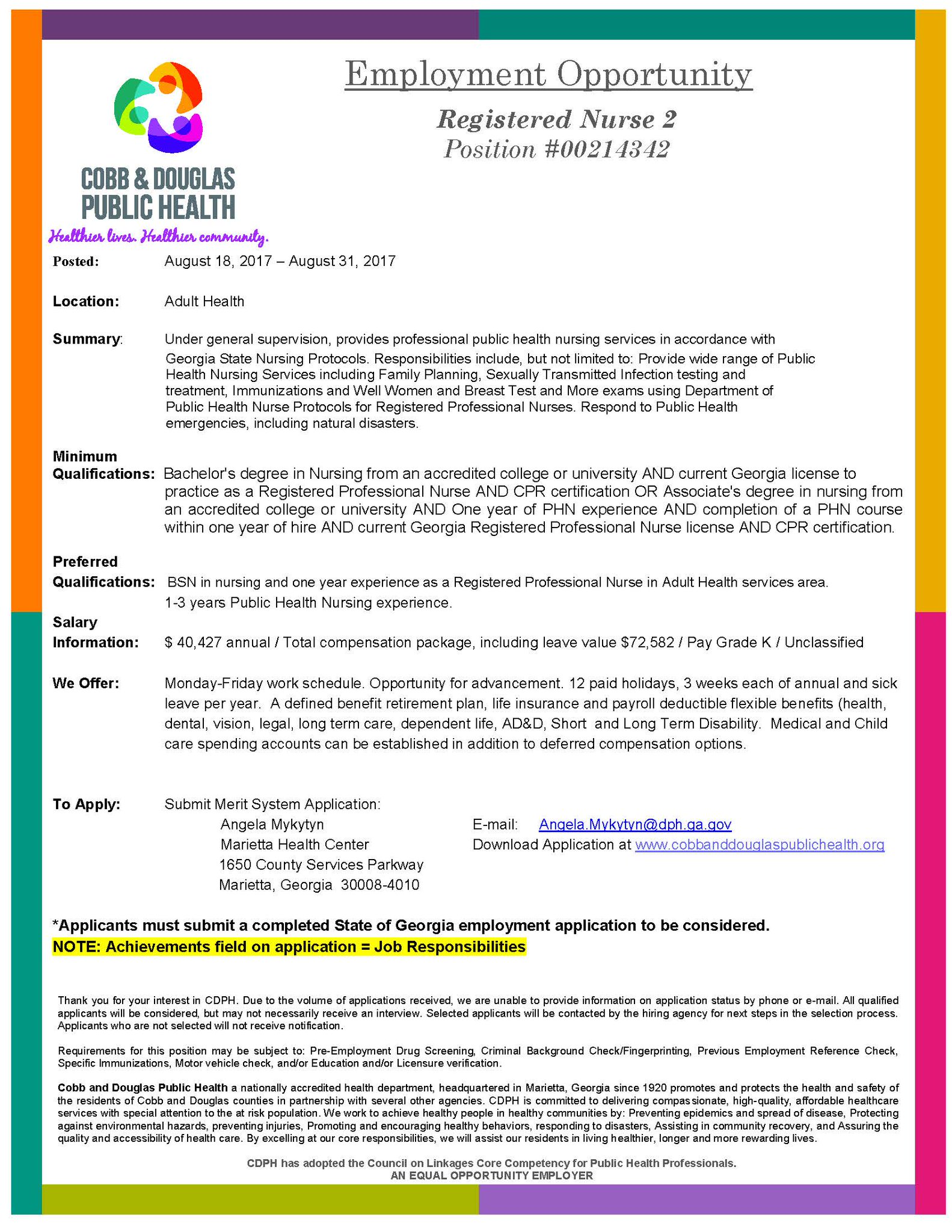 Cd Public Health On Twitter Looking For A New Job Opportunity