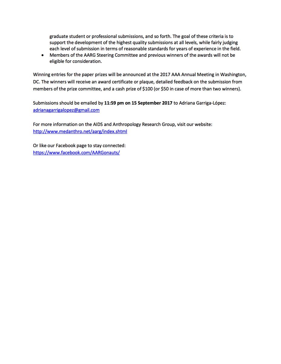 AQA The Association For Queer Anthropology On Twitter AIDS And Research Group Paper Prizes