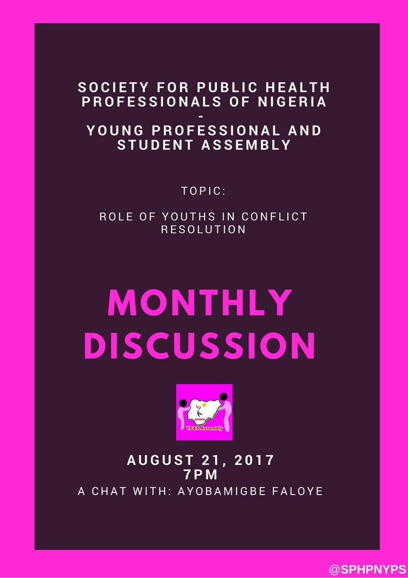 Join us on Monday the 21st of August 2017 by 7pm for a date with our chair @Faypumping &quot;Role of youths in conflict resolution&quot; #YouthDay <br>http://pic.twitter.com/7W8SymdPfj