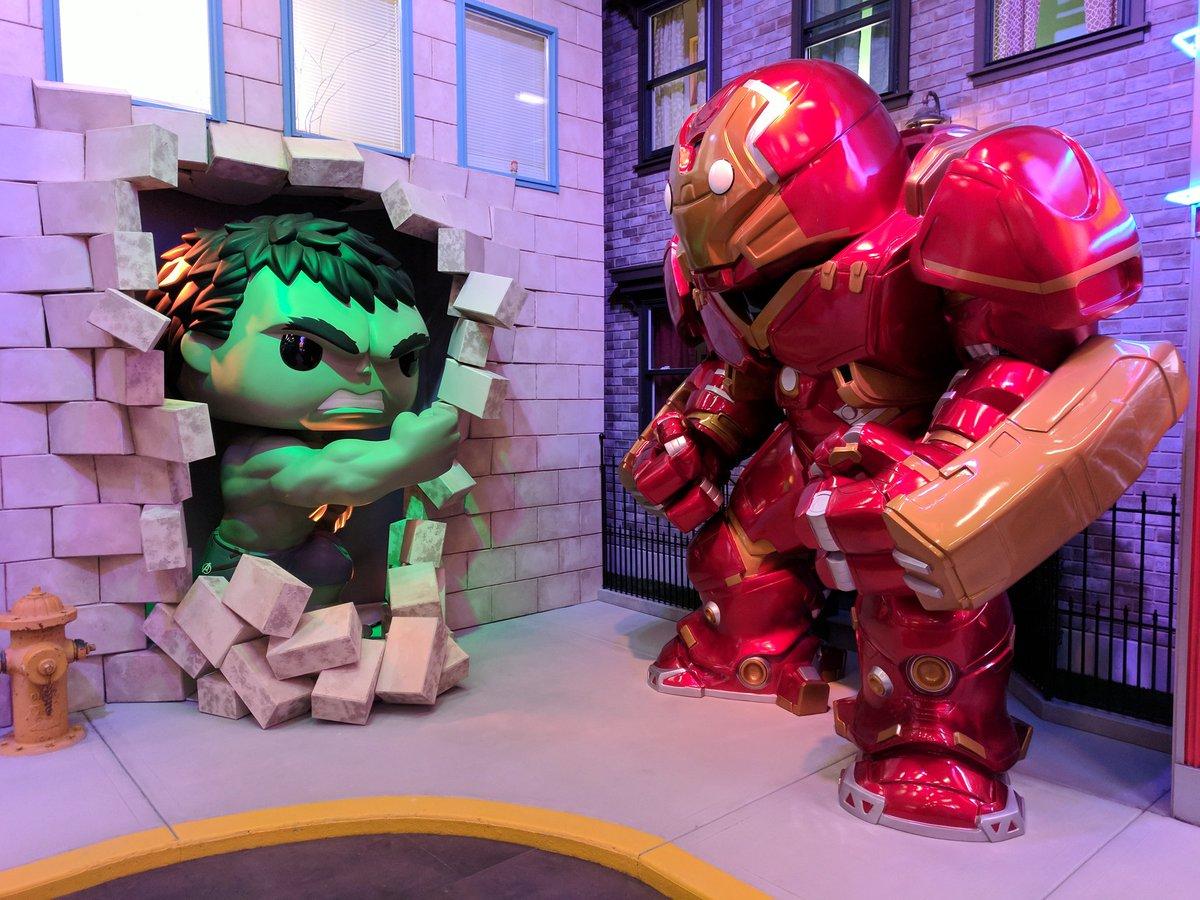 Amazing and huge Hulk vs Hulkbuster Pop! display at Funko HQ!