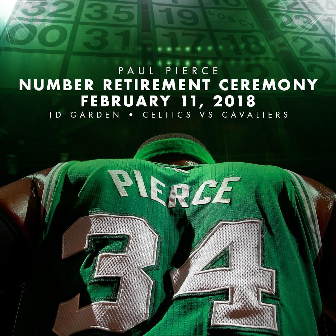 Celtics will retire Paul Pierce's No. 34 in February vs. Cavs https://t.co/lFUlnwcl11