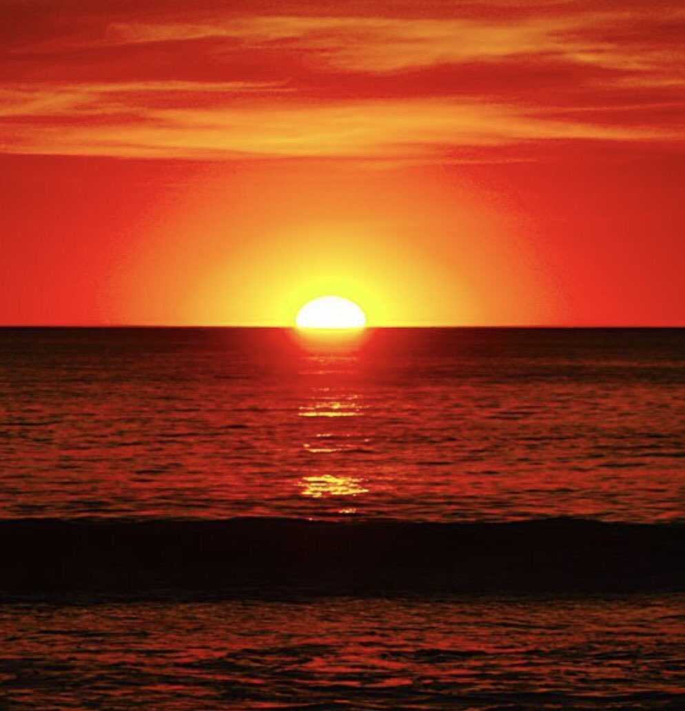 The sky broke like an egg into full sunset, and the water caught fire....